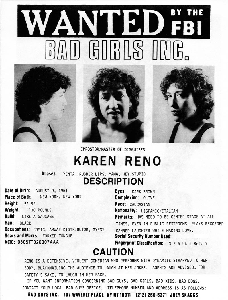 Karen Reno's headshot (back) from Bad Guys Talent Management Agency