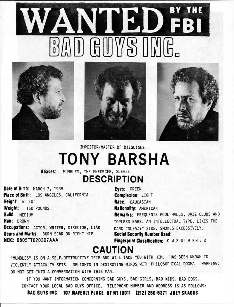 Tony Barsha's headshot (back) from Bad Guys Talent Management Agency