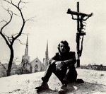 Joey Skaggs with Crucifixion Sculpture on Hovings Hill, Tompkins Square Park, NY, East Village Other, 4-15-66