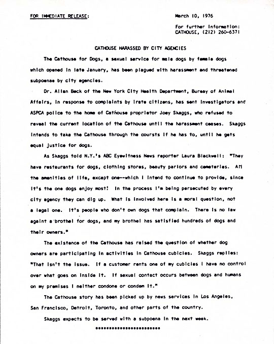 Cathouse for Dogs Press Release: Cathouse Harassed by City Agencies, March 10, 1976