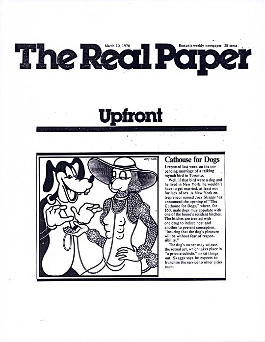 The Real Paper (Boston), Upfront: Cathouse for Dogs, March 10, 1976