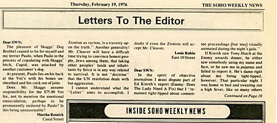Soho Weekly News, Letters to the Editor, February 19, 1976