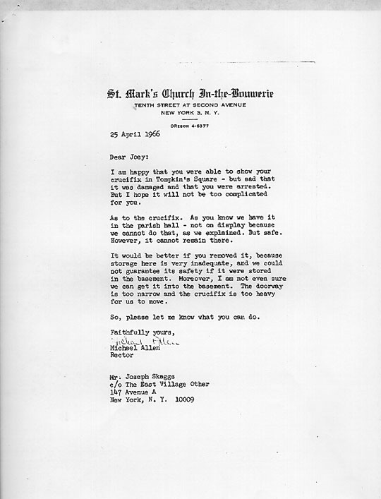 Joey Skaggs Crucifixion: Letter from Father Allen, April 25, 1966