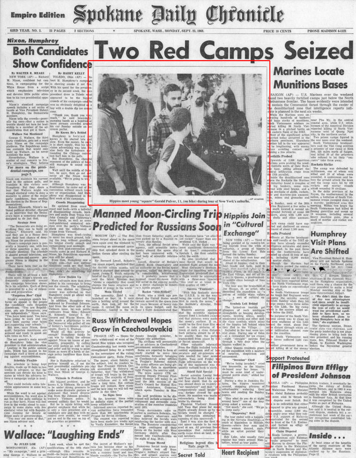 Hippies Join in Cultural Exchange, Spokane Daily Chronicle, September 23, 1968
