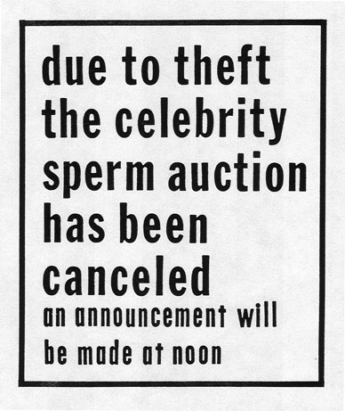 Celebrity Sperm Bank cancellation notice posted on front door
