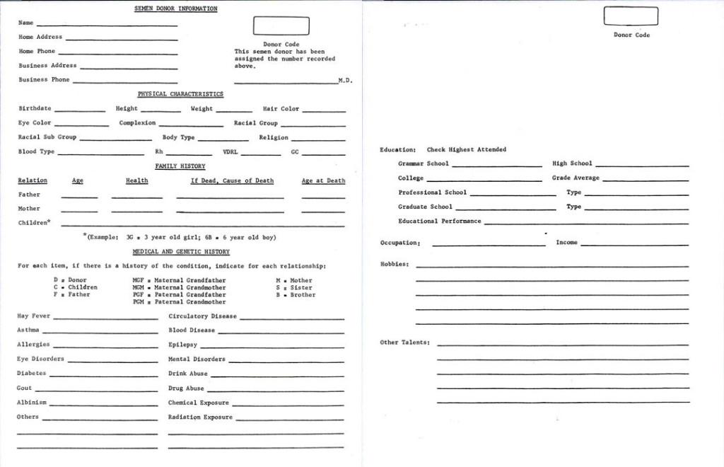 Celebrity Sperm Bank Donor Application
