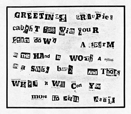 Joey Skaggs' Celebrity Sperm Bank ransom note