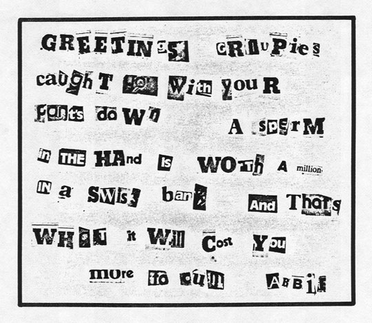 Celebrity Sperm Bank ransom note, presumed to be from Abbie Hoffman