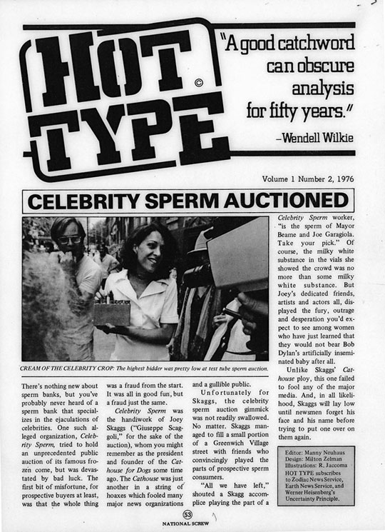 Celebrity Sperm Auctioned, Screw Magazine, December, 1976