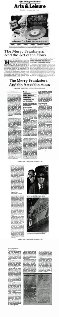 The Merry Pranksters And the Art of the Hoax, by Mark Dery, The New York Times, December 23, 1990