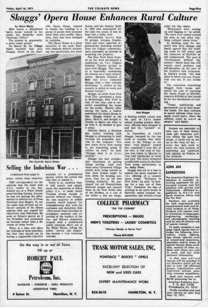 Skaggs' Opera House Enhances Rural Culture, by Steve Maloy, The Colgate News, April 16, 1971