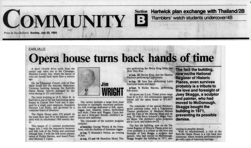 Community: Earlville Opera House Turns Back Hands of Time, by Jim Wright, Press & Sun Bulletin, July 25, 1993