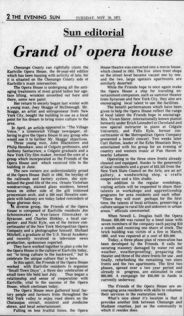 Sun Editorial: Grand ol' opera house, The Evening Sun, November 30, 1971