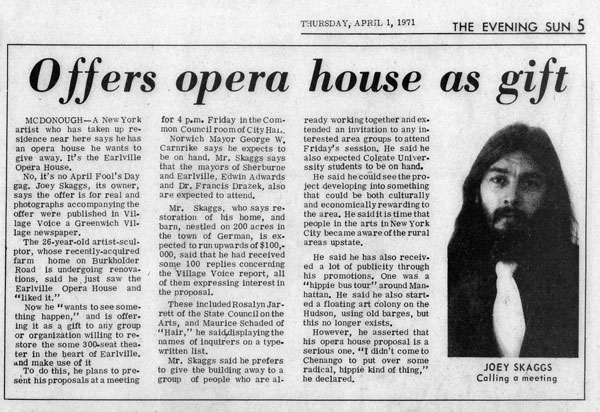 Offers opera house as gift, The Evening Sun, April 1, 1971