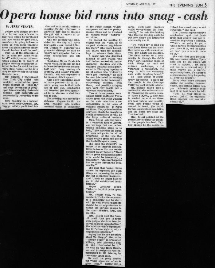 Opera house bid runs into snag - cash, by Jerry Weaver, The Evening Sun, April 5, 1971