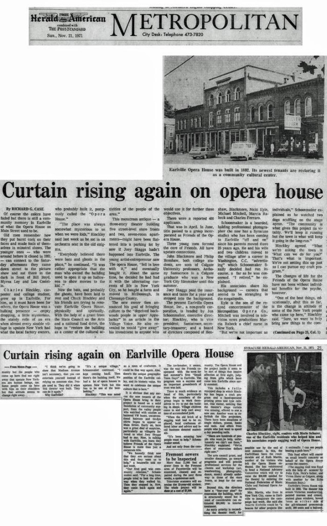 Curtain Rising Again on Opera House, by Richard G. Case, Syracuse Herald American, November 21, 1971