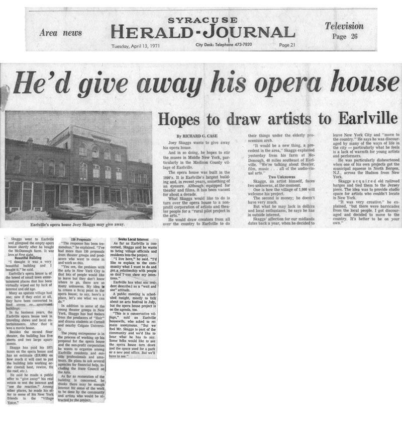 He'd give away his opera house, Syracuse-Herald Journal, April 13, 1971