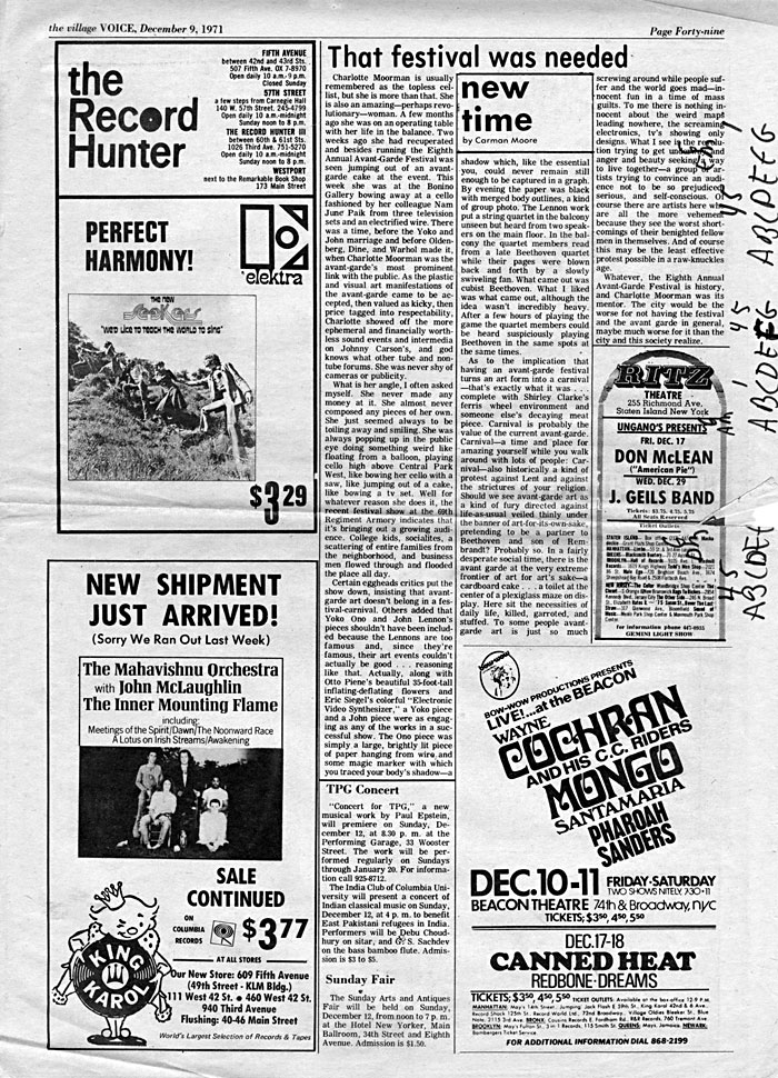 That festival was needed, by Carman Moore, The Village Voice, December 9, 1971