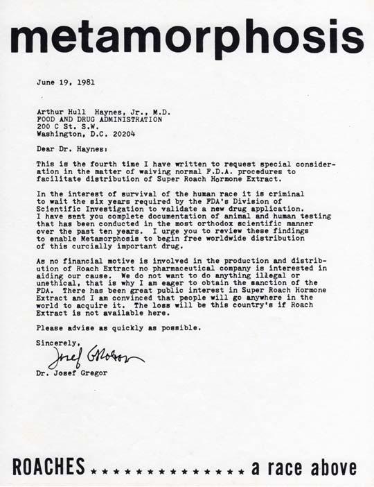 Dr. Josef Gregor Letter to Federal Drug Administration about Metamorphosis, June 19, 1981