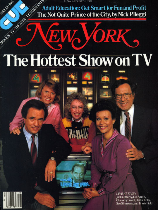 """Hottest Show on TV (Cover of article about popularity of WNBC TV's """"Live at Five""""), New York Magazine, August 31, 1981"""
