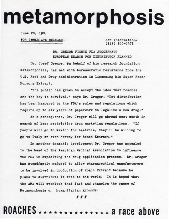 Metamorphosis Press Release #2, June 20, 1981