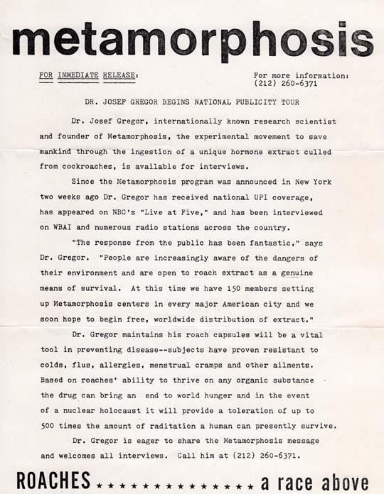 Metamorphosis Press Release #3, 1981