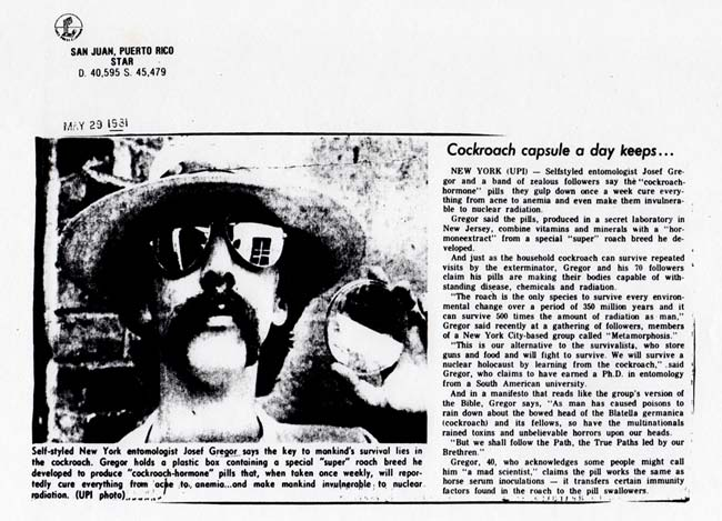 Cockroach capsule a day keeps..., UPI, Star, San Juan, Puerto Rico, May 29, 1981