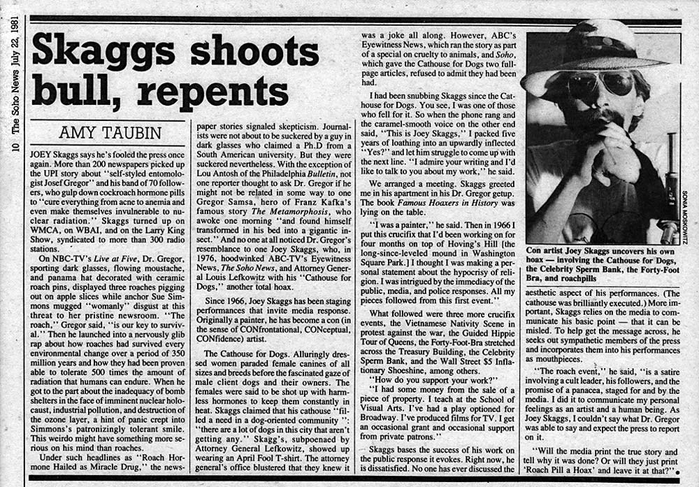 Skaggs Shoots Bull, Repents, by Amy Taubin, Soho Weekly News, July 22, 1981
