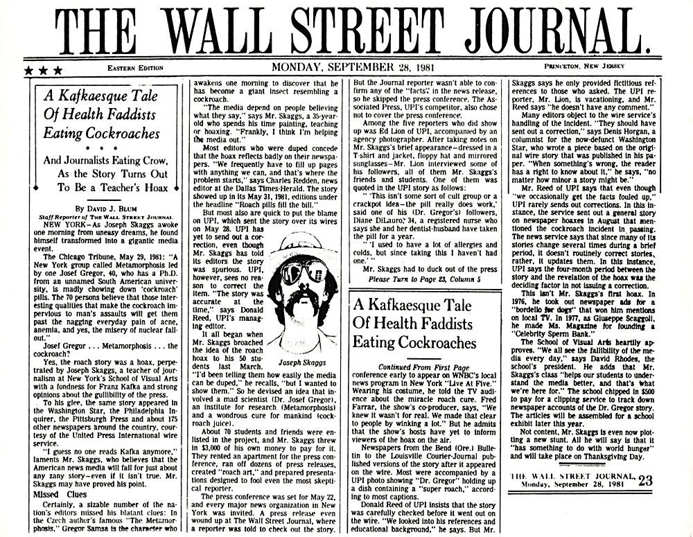 A Kafkaesque Tale Of Health Faddists Eating Cockroaches, by David J. Blum, Wall Street Journal, September 28, 1981