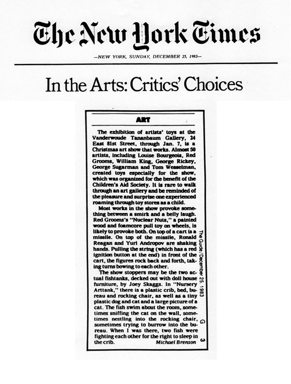 In the Arts: Critics' Choice, by Michael Brenson, New York Times, December 25, 1983