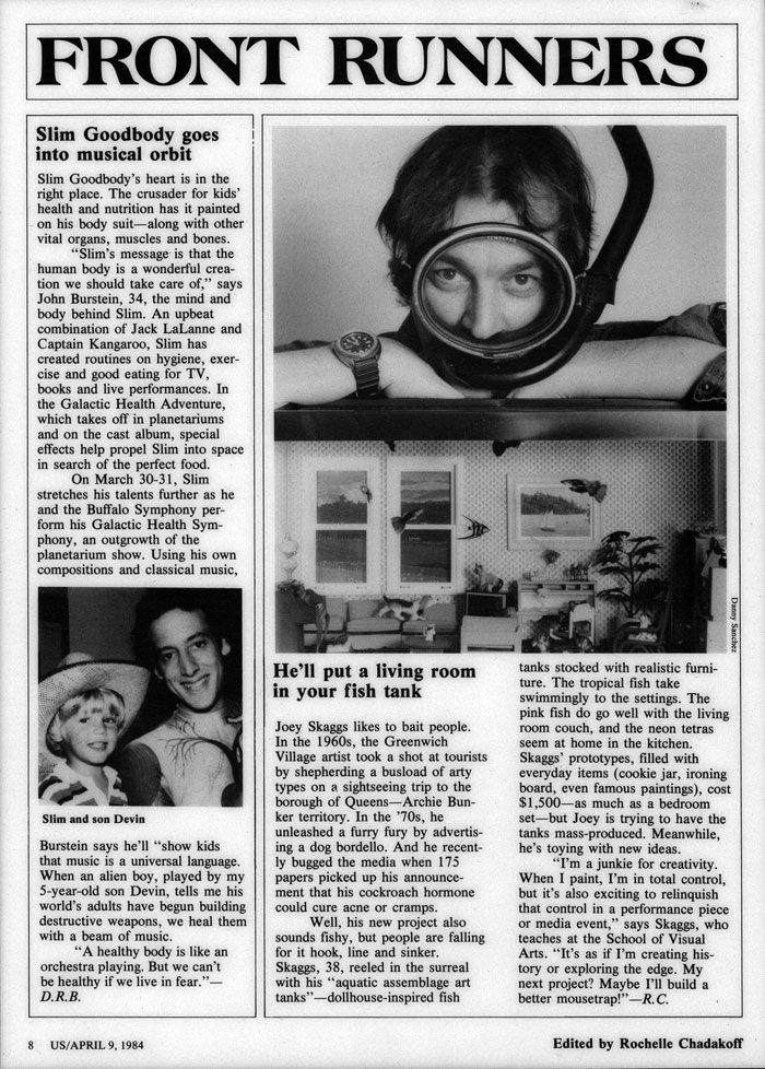 Front Runners: He'll put a living room in your fish tank, Us, April 9, 1984