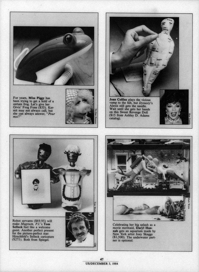 Celebrating her big splash..., Us, December 3, 1984