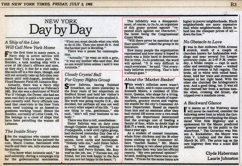 New York Day by Day: Cloudy Crystal Ball for Gypsy Rights Group, by Clyde Haberman & Laurie Johnston, The New York Times, July 2, 1982