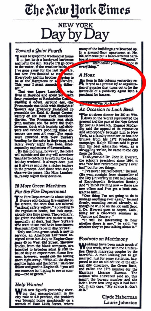 New York Day by Day: A Hoax, by Clyde Haberman & Laurie Johnston, The New York Times, July 3, 1982