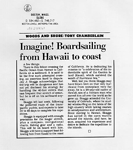 Imagine! Boardsailing from Hawaii to coast, by Tony Chamberlain, Boston Globe, January 23, 1983