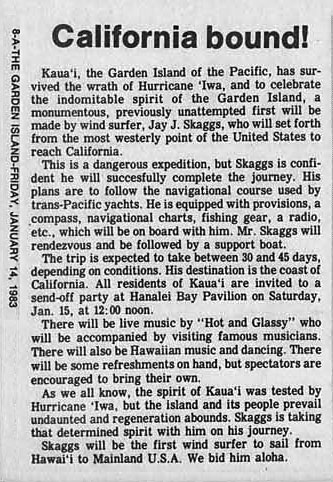 California Bound, Garden Island News, January 14, 1983
