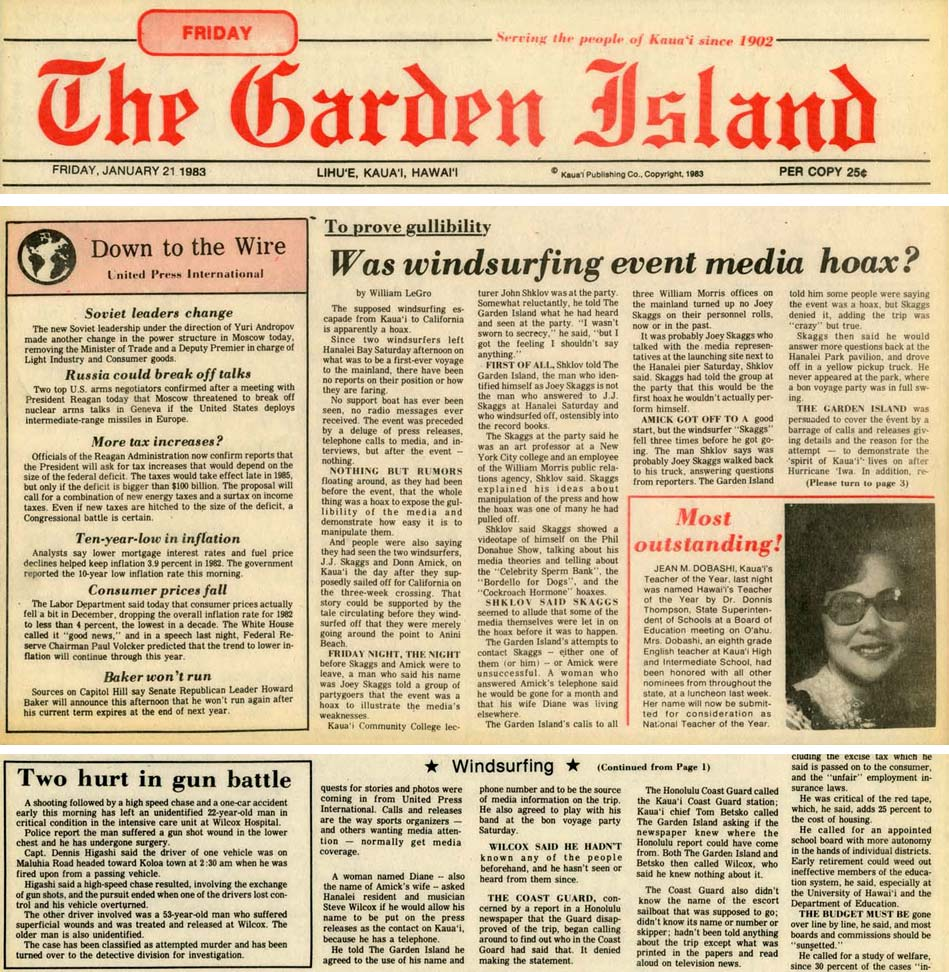 Was windsurfing event media hoax? Garden Island News, January 21, 1983