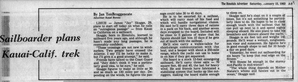 Sailboarder plans Kauai-Calif. trek, Honolulu Advertiser, January 15, 1983