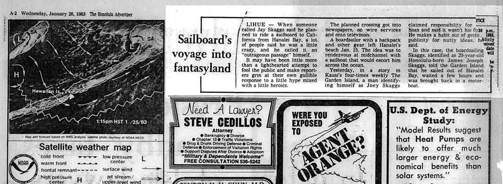 Sailboard's voyage into fantasyland, Honolulu Advertiser, January 26, 1983