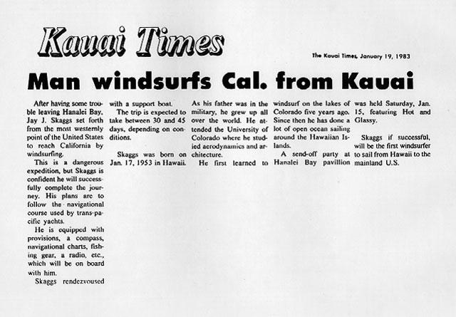 Man windsurfs Cal. from Kauai, Kauai Times, January, 19 1983