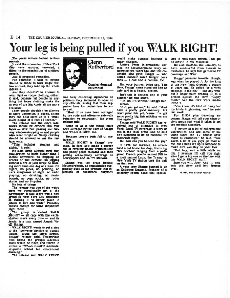 Your leg is being pulled if you WALK RIGHT!, Glenn Rutherford, The Courier-Journal, December 16, 1984