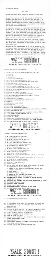 Joey Skaggs' WALK RIGHT! Press Release with 66 Rules for Walking
