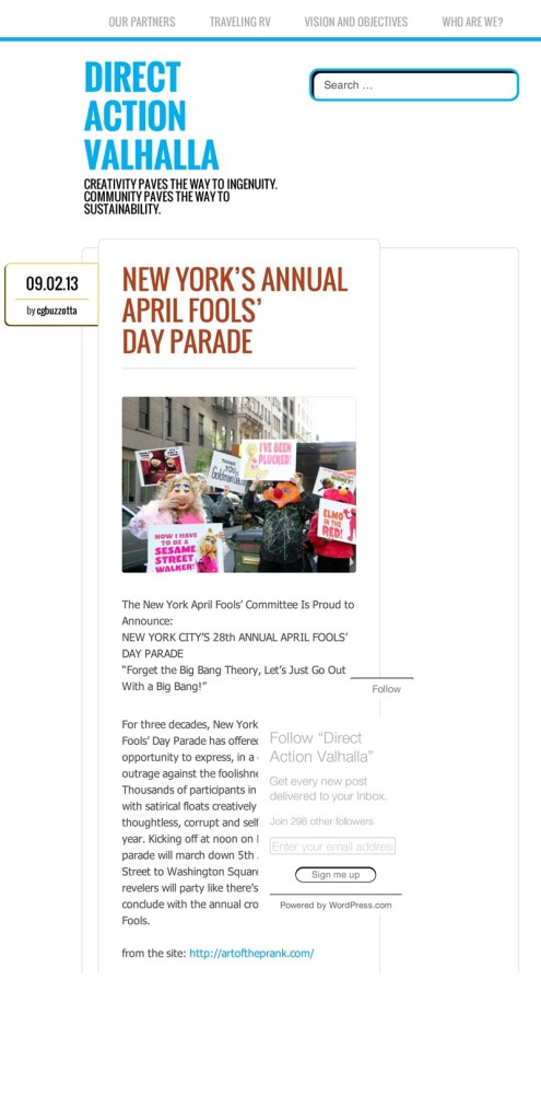 New York's Annual April Fools' Day Parade, Direct Action Valhalla, September 2, 2013