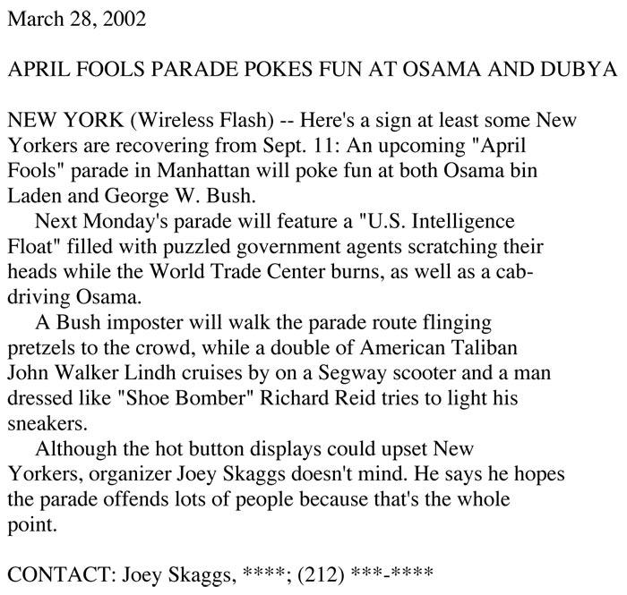 April Fools' Parade Pokes Fun at Osama and Dubya, Flashnews, March 28, 2002