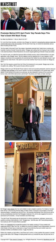 Prankster Behind NYC April Fools' Day Parade Says This Year's Event Will Mock Trump, by Jillian Kay Melchior, Heat Street, March 28, 2017