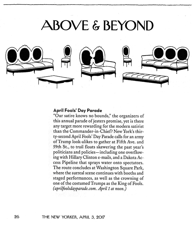 Above & Beyond: April Fools' Day Parade, New Yorker, April 1, 2017