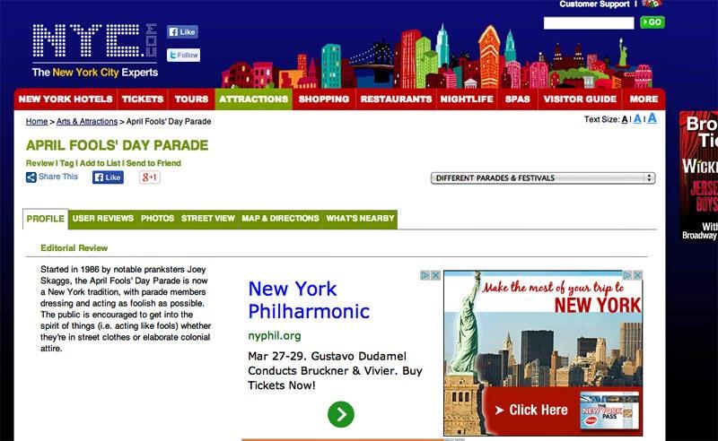 April Fools' Day Parade, NYC.com, 2014