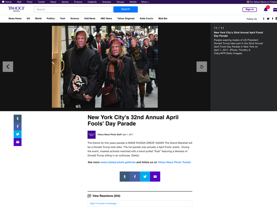 New York City's 32nd Annual April Fools' Day Parade, Yahoo News, April 1, 2017