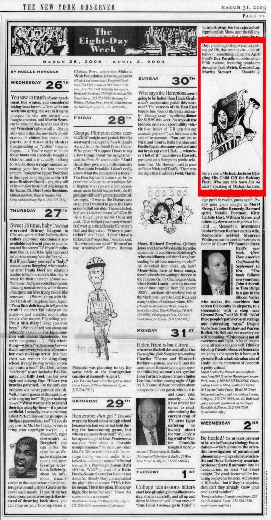April Fools' Parade, New York Observer, March 31, 2003
