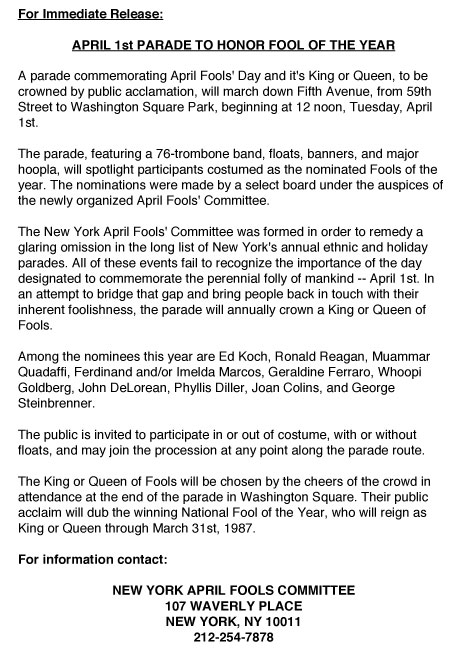 1st Annual April Fools' Day Parade press release, 1986